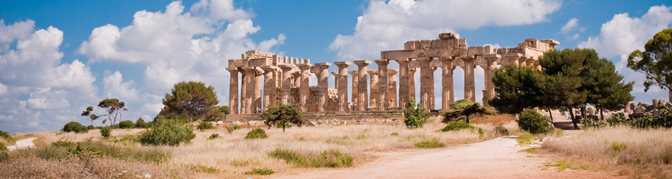 Ruins of Greek temple Selinunte, Sicily Italy